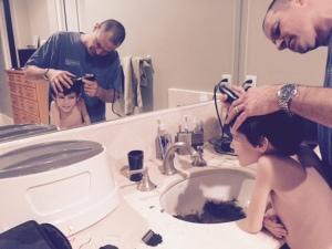 oct 8 2014, dad shaving caleb