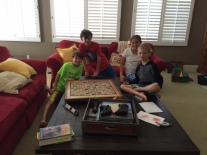 A serious 3-hour Scrabble game with the Kneller boys!