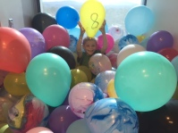 balloons in the room for bday no 8
